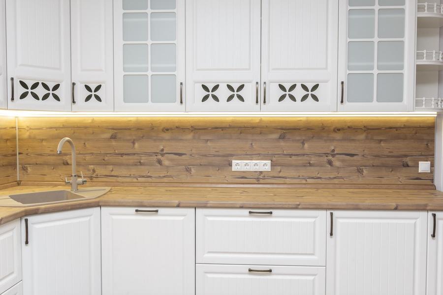 Белый кухонный гарнитур-Кухня МДФ в ПВХ «Модель 10»-фото4