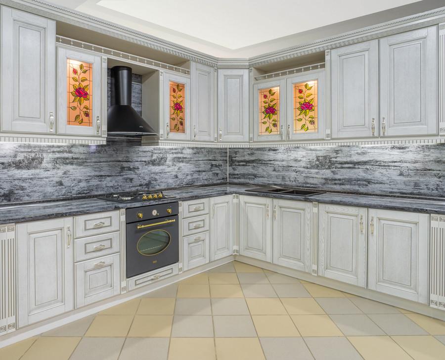 Белый кухонный гарнитур-Кухня МДФ в эмали «Модель 47»-фото1
