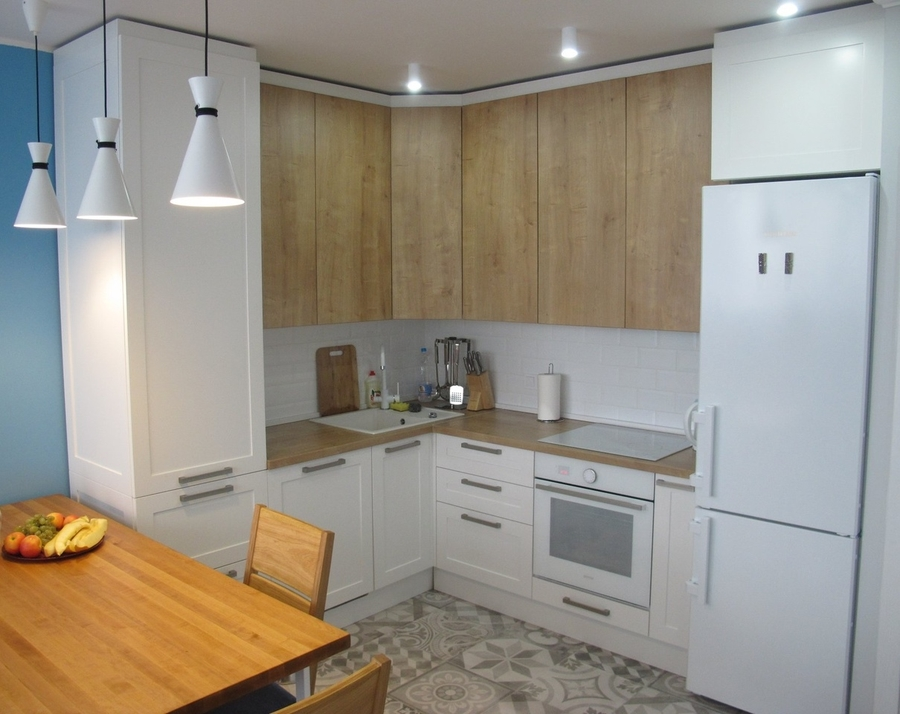 Белый кухонный гарнитур-Кухня из ЛДСП «Модель 346»-фото1