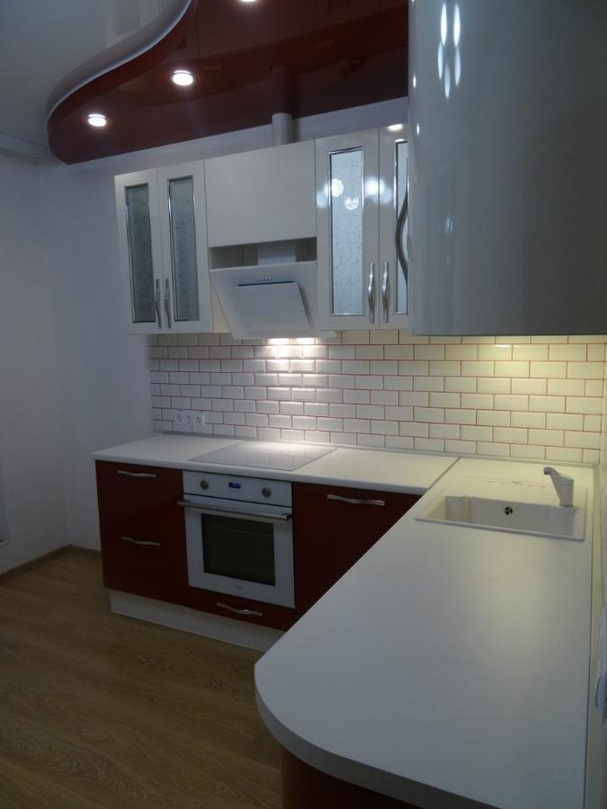 Белый кухонный гарнитур-Кухня из пластика «Модель 365»-фото2