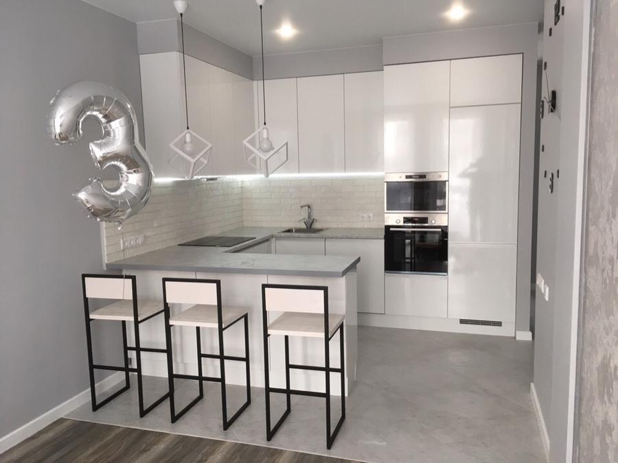 Белый кухонный гарнитур-Кухня МДФ в эмали «Модель 431»-фото1