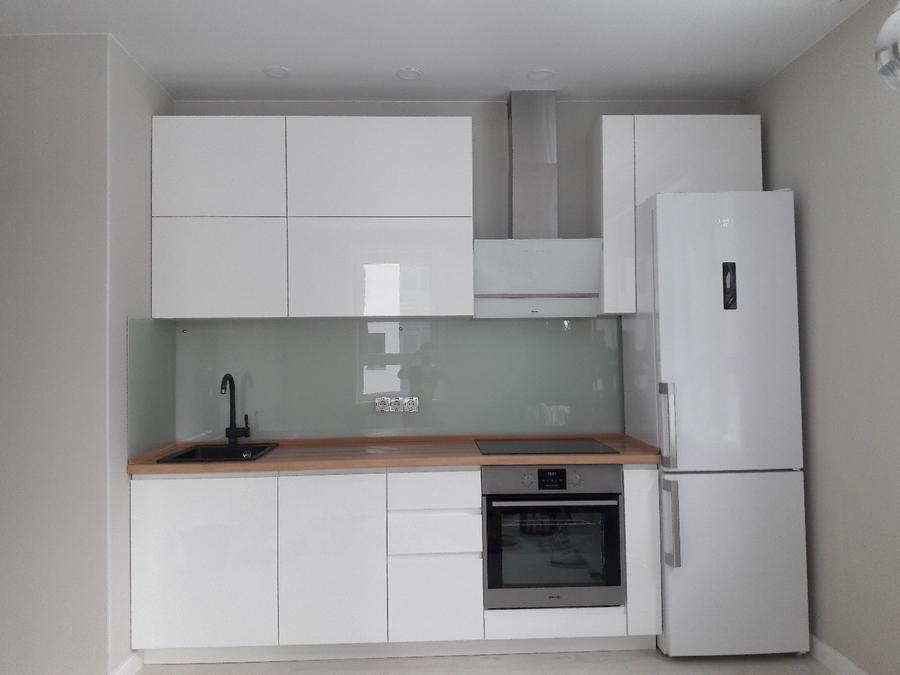 Белый кухонный гарнитур-Модель МДФ в эмали «Модель 447»-фото1