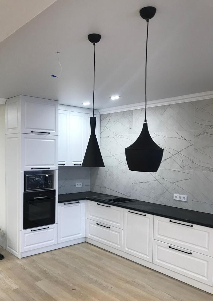 Белый кухонный гарнитур-Кухня МДФ в ПВХ «Модель 553»-фото1